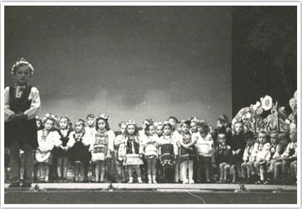 12. Kindergarten class performing songs and poems for Mothers Day in Augsburg, Germany in 1948