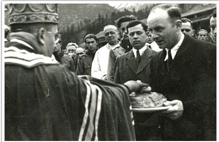 21.Yaroslav Stetsko greeting the Bishop in Mittenwald, Germany